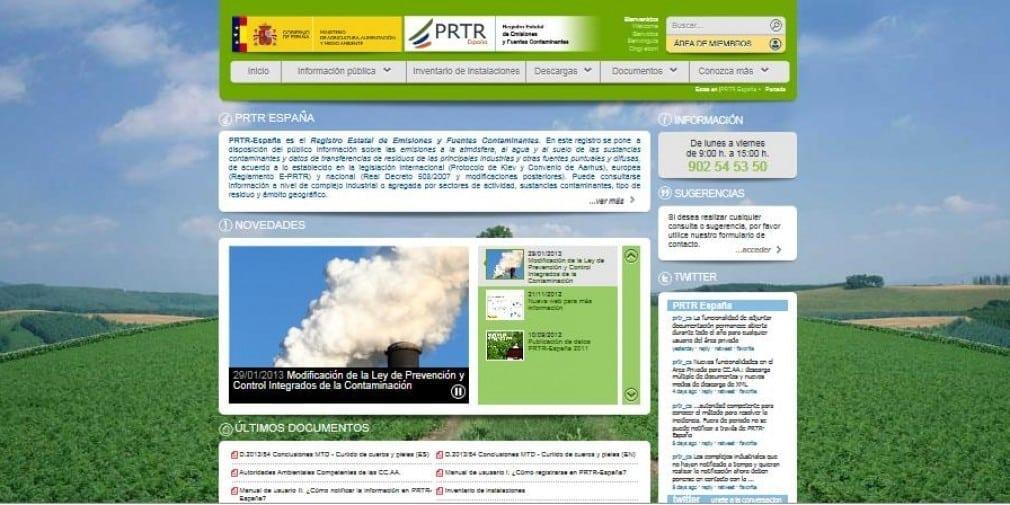 PRTR España · web · backoffice